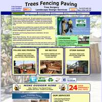 Trees fencing paving